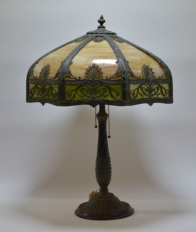 American Caramel & Green 16 Panel Slag Glass Lamp