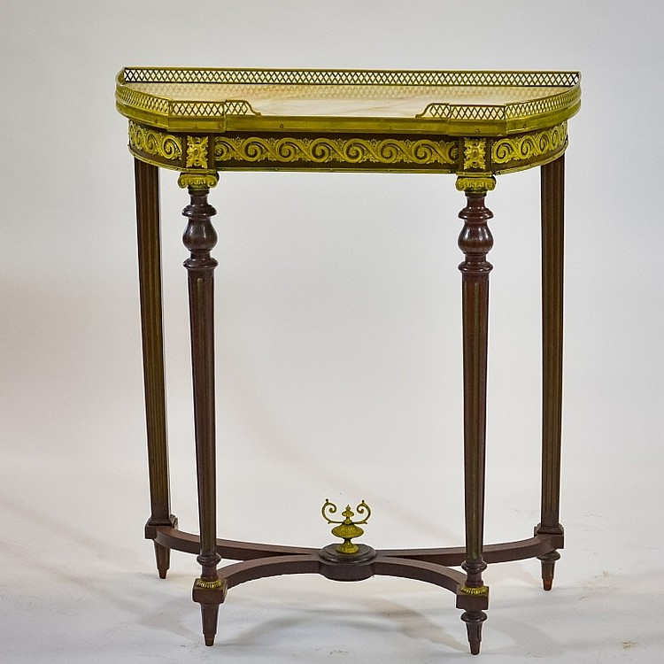 French Mahogany Bronze Ormolu Console Table