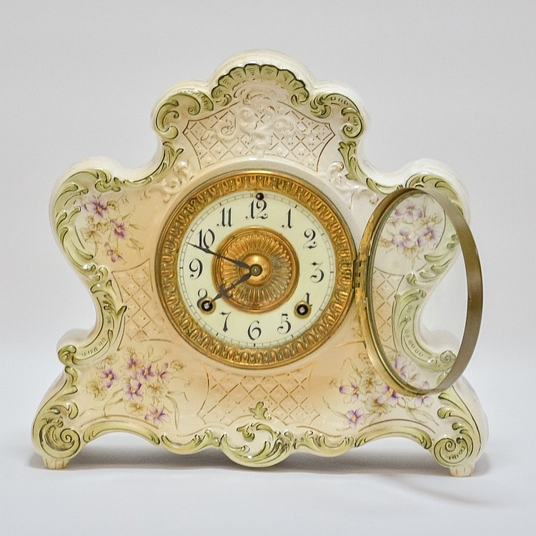 Antique 19C. Ansonia Dresden Porcelain Clock