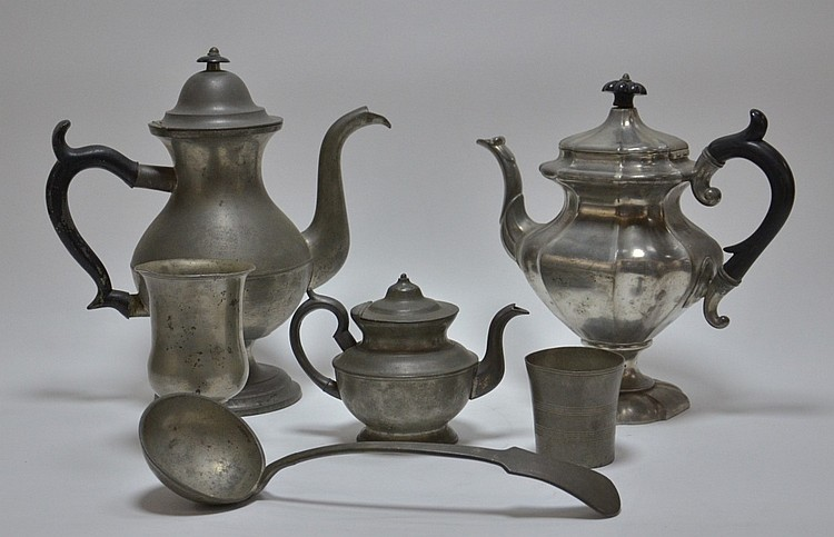 6 American Pewter Teapot Goblet Cup Spoon Lot