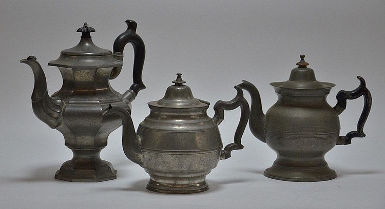 3 American Boston Roswell Gleason Pewter Teapots