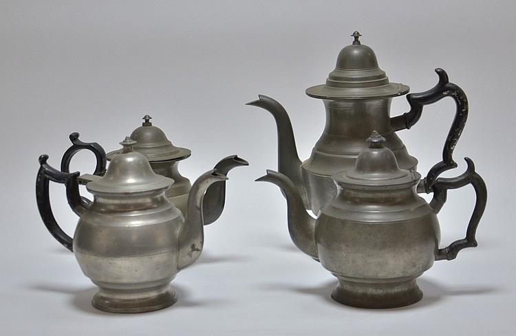4 American Pewter Teapots Boardman Porter Dunham