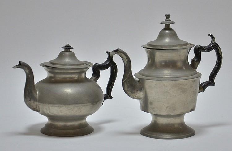 2 George Richardson Cranston RI Pewter Teapots
