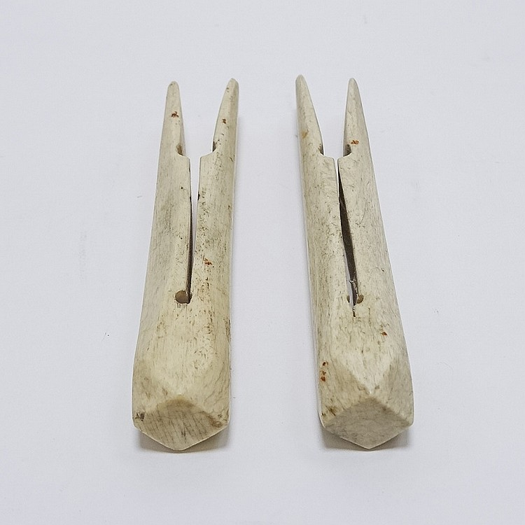 Pr. Large 19C. Sailor Made Scrimshaw Clothes Pins