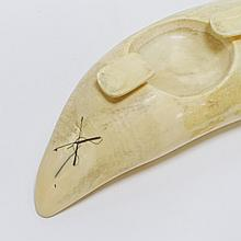 Scrimshaw Whale Tooth Ashtray Engraved With 3-Mast