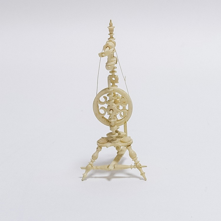 19C. Carved Bone Miniature Spinning Wheel