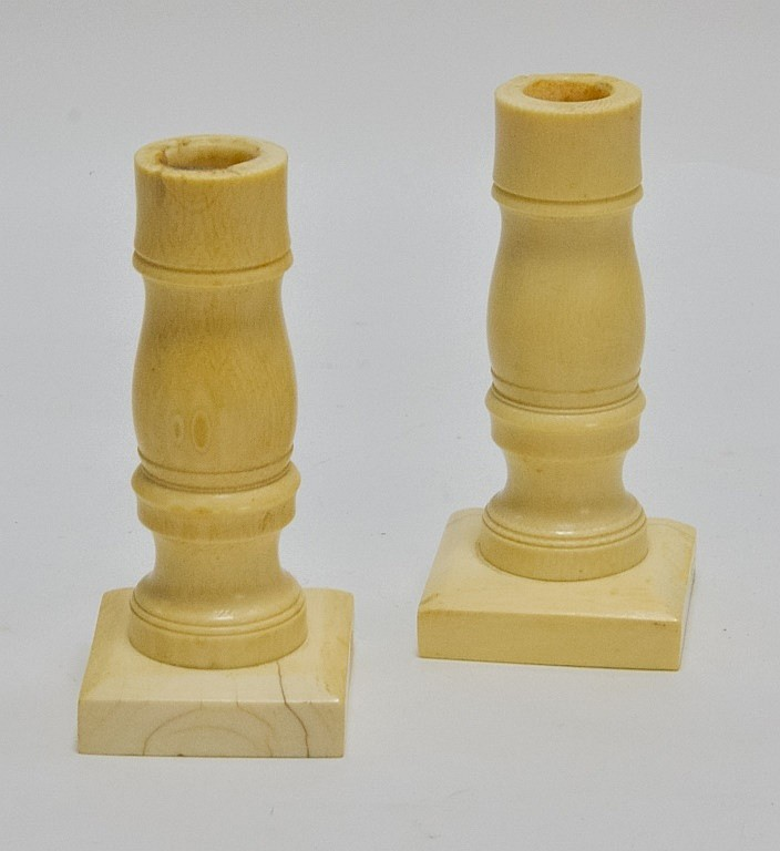 Pr. Antique 19C. Carved Ivory Candlesticks