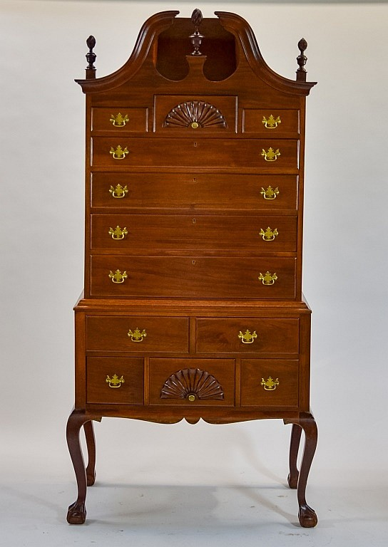 Solid Mahogany Bonnet Top High Boy Dresser