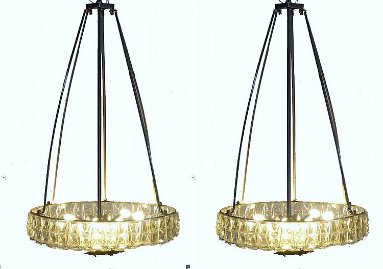 Pair French Art Deco Theater Crystal Chandeliers