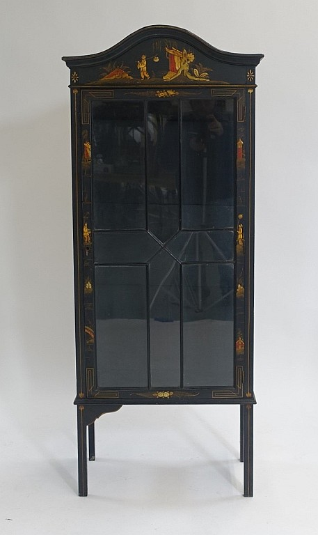 Antique C.1920 Black Lacquer Asian Display Cabinet