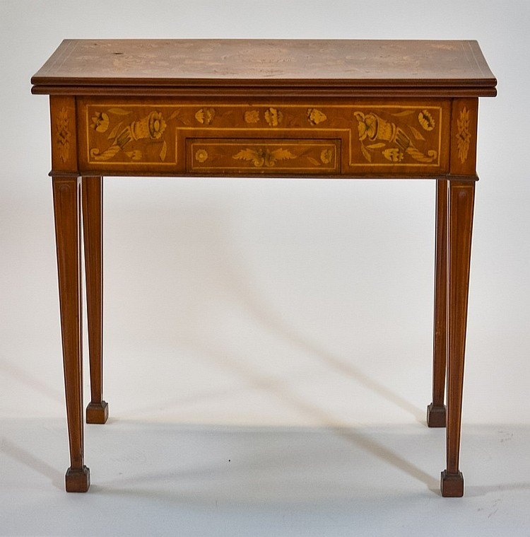 C.1810 Dutch Marquetry Inlaid Tea & Gaming Table