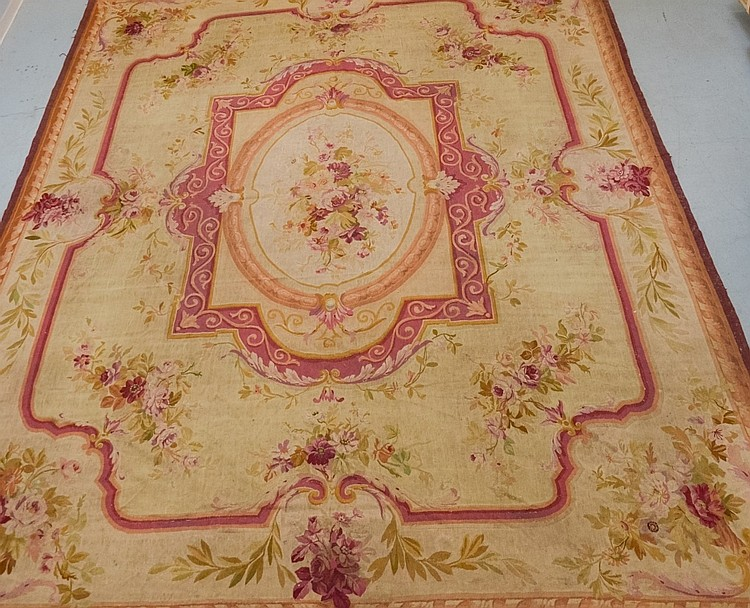LG. Ivory Open Field Burgundy Aubusson Carpet Rug