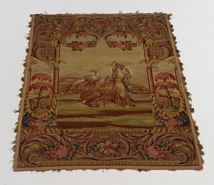 18-19C. European Needlepoint Pettipoint Tapestry