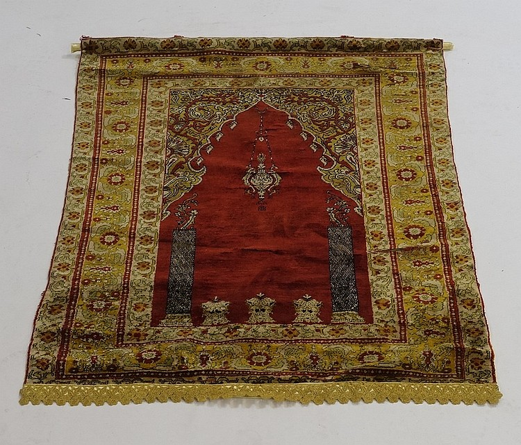 Antique C.1890 Turkish Silk Prayer Rug