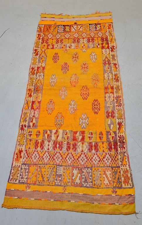 Hand Made Moroccan Yellow Berber Carpet Rug Runner