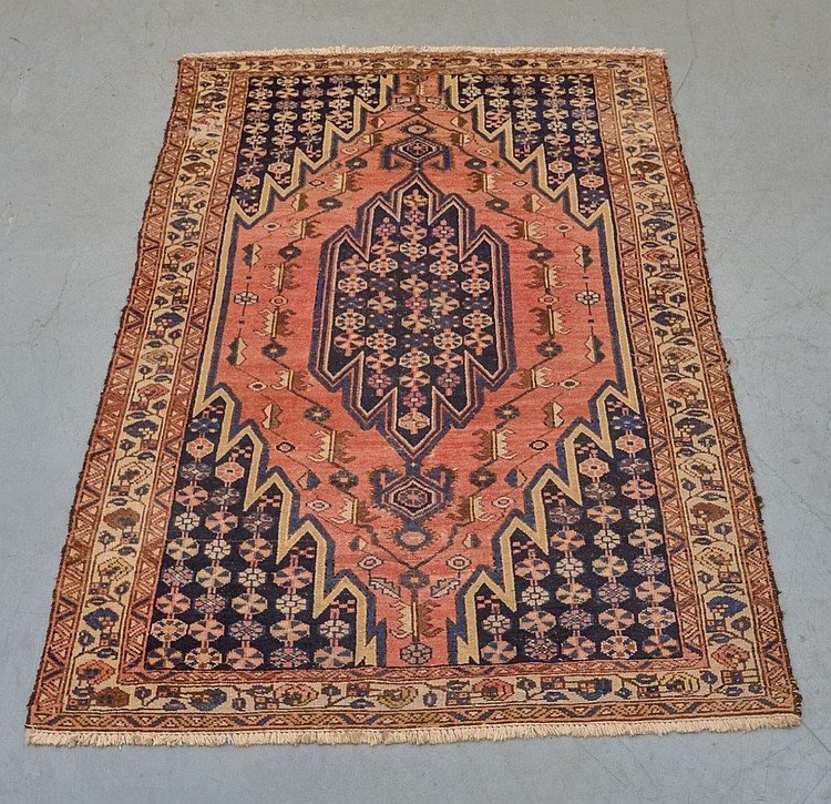 Persian Red Field Geometric Medallion Carpet Rug