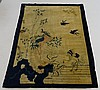 Antique Chinese Blue & Ivory Pictorial Carpet Rug