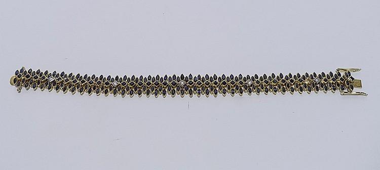 Signed Kalati 18KT Gold Sapphire Diamond Bracelet