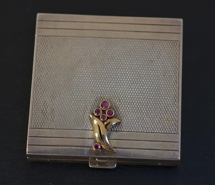 Sterling Silver 14KT Gold & Ruby Ladies Compact