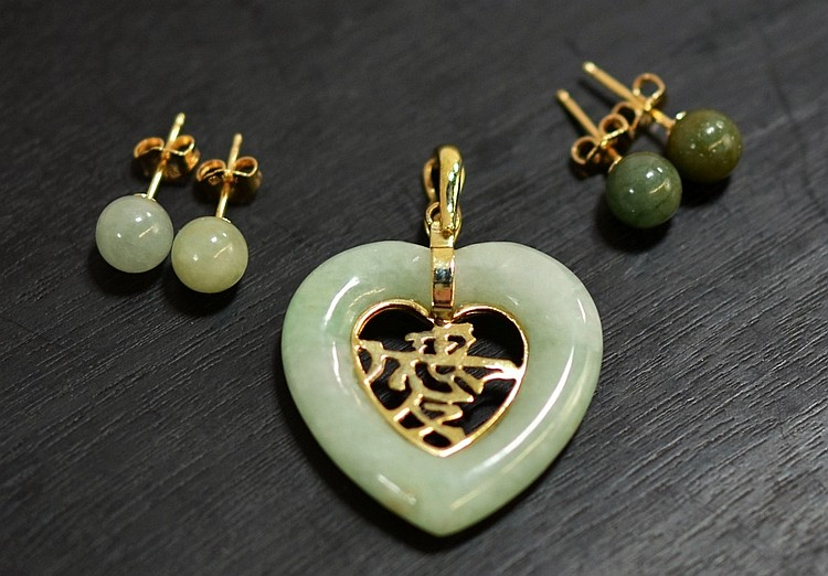 3 14KT Gold Celadon Spinach Jade Earring Pendant