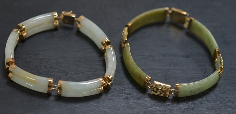 2 Chinese Spinach Jade Abalone 14KT Gold Bracelets