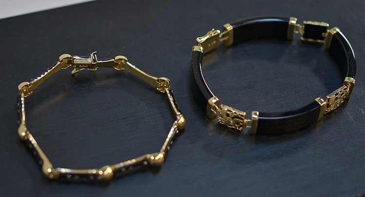 2 Ladies Black Onyx & Enamel 14KT Gold Bracelets