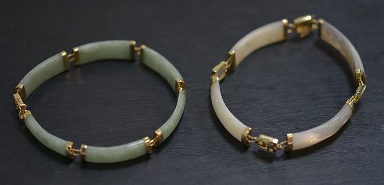 2 Chinese MOP & Celadon Jade 14KT Gold Bracelets