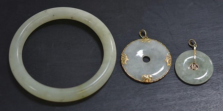 3 Chinese Celadon Jade 14KT Gold Pendant & Bangle