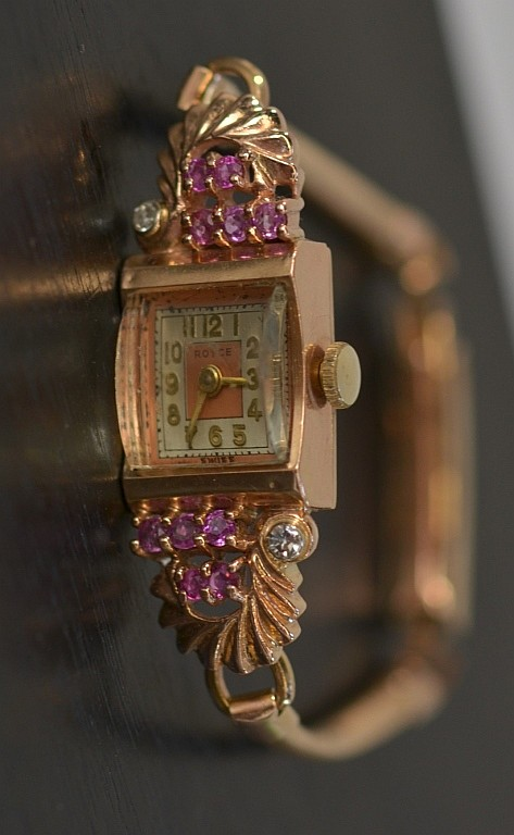 Ladies Swiss Royce Rose Gold Ruby Diamond Watch
