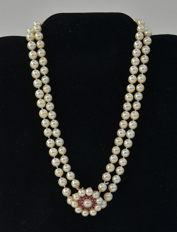 Ladies 14KT Gold Ruby Wedding Day Pearl Necklace