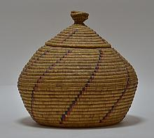 19C Yupik Eskimo Grass Coil & Dyed Seal Gut Basket
