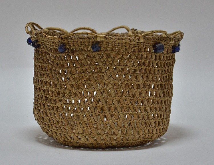 Northwest Coast Eskimo Russian Trade Bead Basket