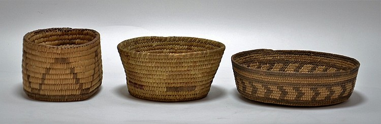 3 Southwest Native American Papago Pima Baskets