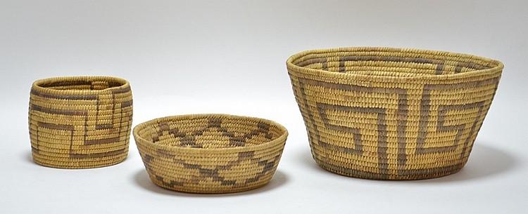 3 Southwestern Native American Papago Pima Basket