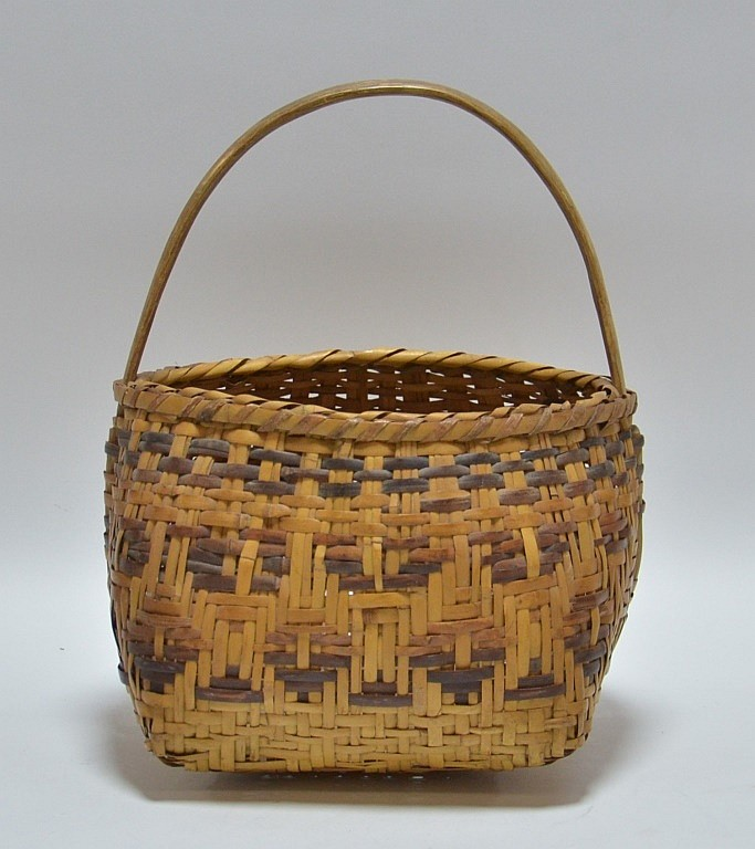 Cherokee Native American Splint Handled Basket