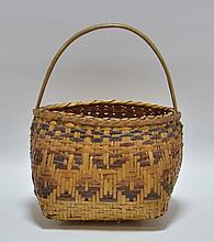 Cherokee Native American Splint Handled Basket