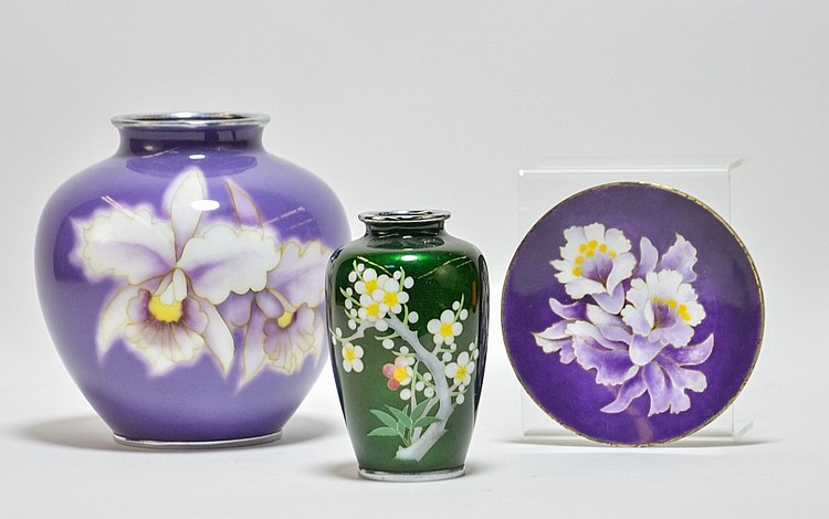 Japanese Cloisonne Vase & Plate Grouping