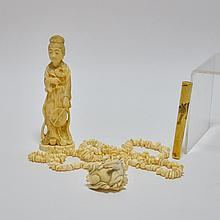 3 Asian Ivory Necklace Cigarette Holder Netsuke
