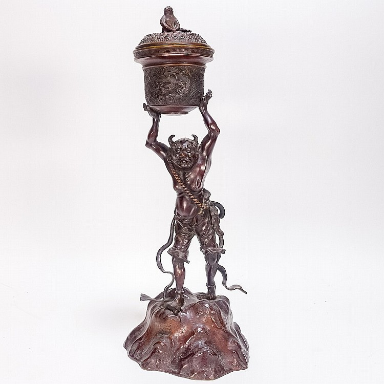 Japanese Bronze Figure of Oni Candle Cassolette