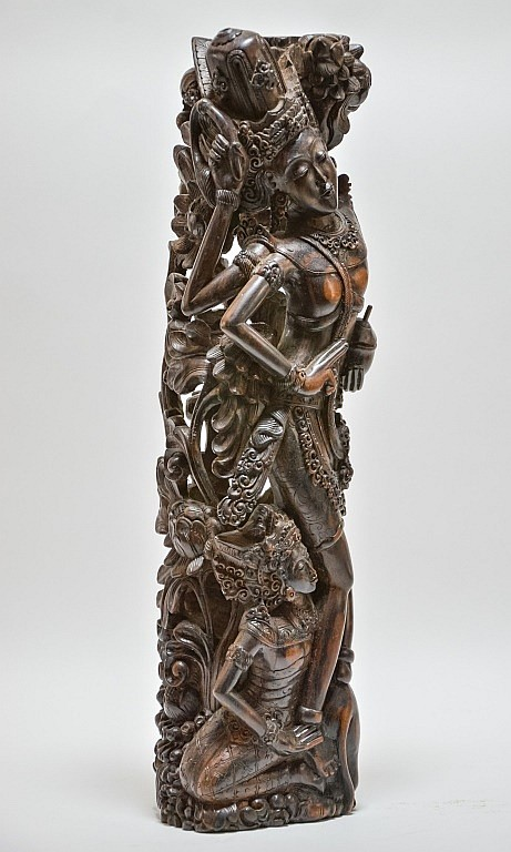 Vintage Balinese Carved Rosewood Dancing Figure