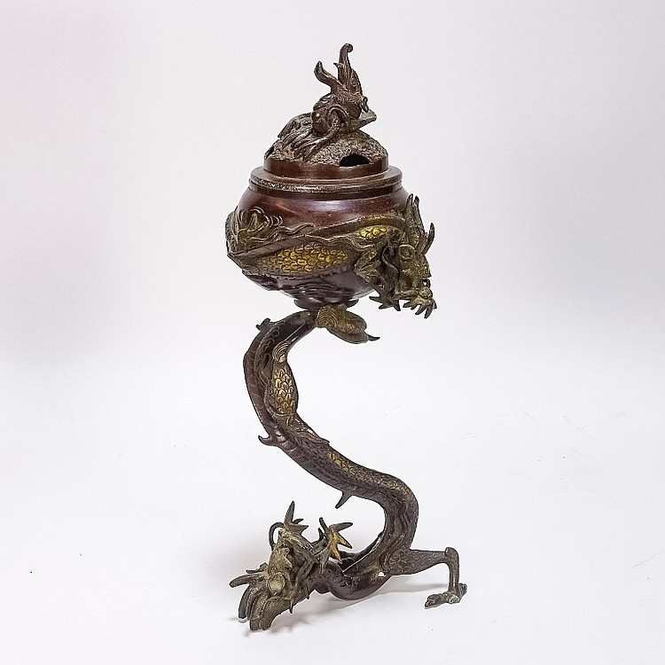 Japanese Bronze Dragon Incense Burner Censer
