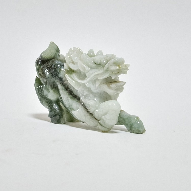 Chinese Carved Hardstone Jadeite Guardian Lion