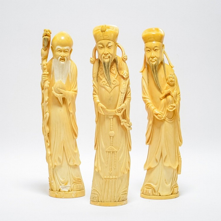 3 Japanese Carved Ivory Buddhist Immortal Figures