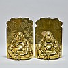 Pr. Large Chinese Brass Buddha Bookends