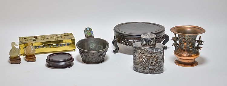 Chinese Tea Caddy Vase Box Iron Agate Grouping