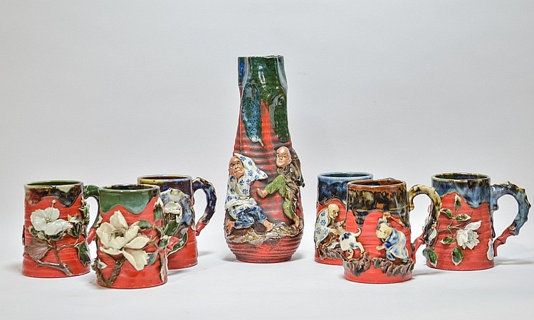 Group Japanese Sumida Gawa Pottery Vase & Cups