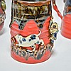 Group Japanese Sumida Gawa Pottery Vase & Cups