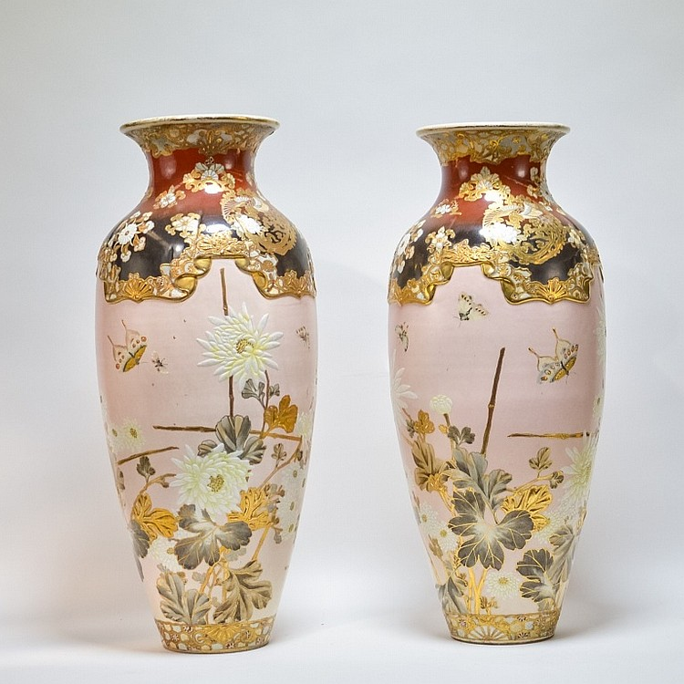 Pair Large Antique Japanese Satsuma Vases