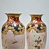 Pair Large Antique Japanese Satsuma Vases