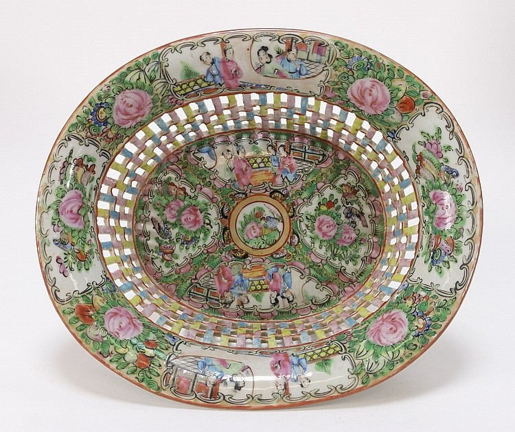 Chinese Rose Medallion Porcelain Reticulated Bowl